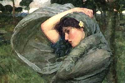 A painting of a dark-haired young woman with a cloak pulled up over her hair.